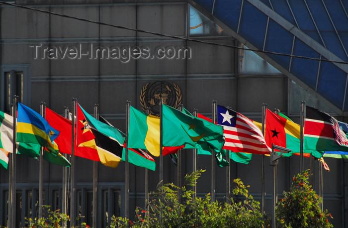 Drapeaux African au Siège de conférence des Nations Unies en Ethiopie